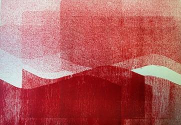 """Variation // Mer I"", gravure sur bois"