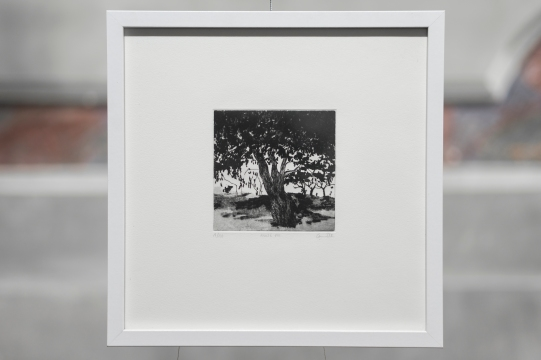 PAUSE VIII Gravure taille-douce, technique mixte (Manière noire, dremel et pointe-sèche) 30x30 cm