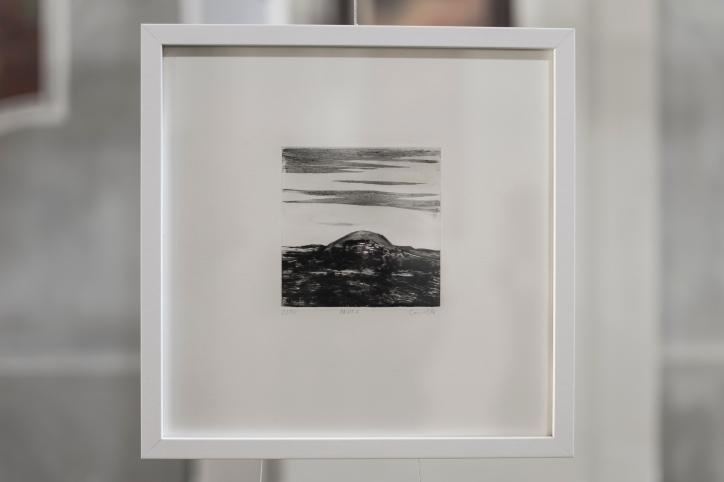 PAUSE V Gravure taille-douce, technique mixte (Burin et pointe-sèche) Format papier 30x30 cm