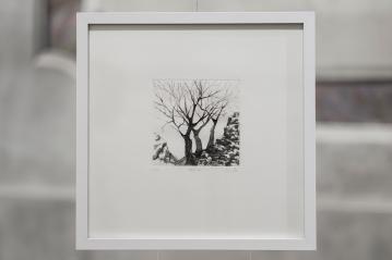 PAUSE VII Gravure taille-douce, technique mixte (Burin et pointe-sèche) 30x30 cm
