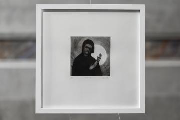 PAUSE XII Gravure taille-douce, technique mixte (Pointe-sèche et dremel) 30x30 cm