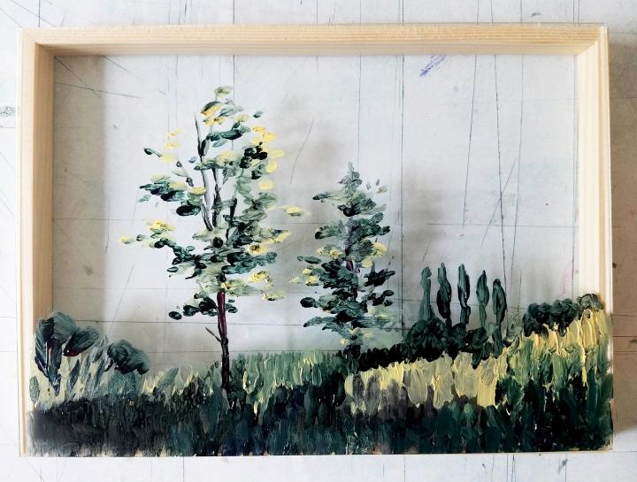 Huile sur verre - Plan I - 10X15 cm - 2019